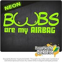 おっぱいは私のエアバッグです Boobs are my Airbagy 20cm x 8cm 15色 - ネオン+クロム! ステッカービニールオートバイ