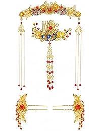 [kanrome]ジュエリー 結婚式 花嫁 古典 髪飾り 撮影 お祝い 演出 写真 クラシック 古代中国 ヘアコーム 簪 蝶々 チェーン 演劇