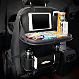 Waterproof Travel Car Seat Back Organiser iPad Holder Foldable Table Desk Black