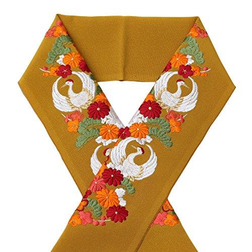 【ノーブランド品】 半襟 豪華な刺繍 和柄 ( 辛子色 / 鶴 菊 松 梅 ) 礼装用 振袖 袴 成人式 結婚式 卒業式 向け 半衿