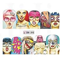 1枚ポップアートステッカー水転写ネイルアートステッカーセクシーな女性の唇ネイルデコレーションのヒントネイルケアデカールJIBN385-396 BN395