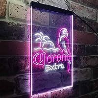 Corona Parrot Palm Tree Bar Beer LED看板 ネオンサイン バーライト 電飾 ビールバー 広告用標識 ホワイト+パープル W30cm x H40cm