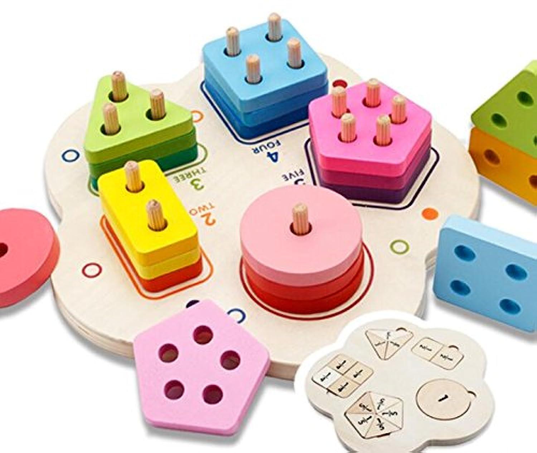 HuaQingPiJu-JP ビーンズ新しい木製ビルディングブロックコラムベビージオメトリ認知マッチングおもちゃクリエイティブギフト