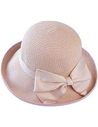 YXI 麦わら帽子女性夏ビーチ帽子バイザー旅行ホリデーシーサイド (色 : Light pink)
