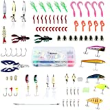 ENKEEO Fishing Lure Set 106pcs Fishing Lures Baits Tackle with Soft Hard Metal Lure, Crankbaits, Hooks, Jigs, Plastic Worms, Grub, Minnow and More for Freshwater Saltwater Bass Trout Salmon Pike