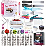Cake Decorating Supplies Kit 2020 Newest 206 PCS Baking Set for Beginners with Cake Turntable Stand Rotating Turntable,Russian Piping Tips Set, Cake Baking Supplies for Cake Lovers