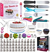 Cake Decorating Supplies Kit 2020 Newest 206 PCS Baking Set for Beginners with Cake Turntable Stand Rotating...