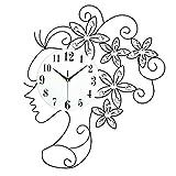 掛け時計 アイアン 壁時計 連続秒針 おしゃれ 花 北欧 デザイン デザイナー 美人 ウォールクロック 音しない 無音 静音 インテリア 結婚祝い 西洋 北欧 おしゃれ 壁掛式 【UNUSUAL】