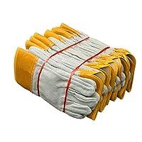 男性用作業用革手袋脱皮防止厚手の耐摩耗性溶接手袋、12ペア 着け心地よい (Color : Yellow, Size : XL)