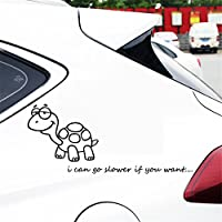 デカール防水シールステッカー vylumuses ゆっくりしたカメ Mビニール ステッカー ウィンドウの装飾.約車体と車ドアのシール13.9cm x 14.6cm 窓のステッカーデカール カーステッカー (黒)
