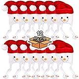ぬいぐるみ フロスティ 雪だるま クリスマス ノベルティハット (雪だるまのぬいぐるみ) - 12個パック