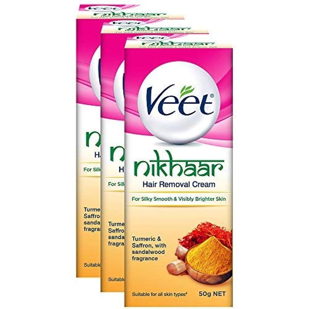 限界吹雪影響を受けやすいですVeet Nikhaar Hair Removal Cream for All Skin Types - 50 g (Pack of 3) [並行輸入品]