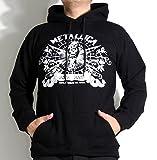 【ノーブランド品】ロックパーカー バンドパーカーMETALLICA メタリカ 3連ガイコツ ロゴ イラストMサイズ 黒色