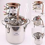 AU_TRULYSTEP DIY Home 10 L Liters Distiller Moonshine Still Boiler Copper Cooler Thermometer Wine Spirits Essential Oil Water Alcohol Brewing Kit