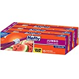 Hefty Slider 2.5 Gallon Jumbo Storage Bags, 15 Count (Pack of 3) 45 Bags Total