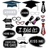 卒業写真ブース小道具 24個セット パーティー記念品 卒業パーティー用 口ひげ、帽子、メガネ、唇、ボウラー、棒付きボウタイ
