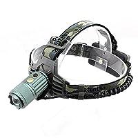 MUTANG 屋外LEDヘッドランプ充電可能なスーパー明るい調整可能な鉱山のランプ夜の釣り検索ライト自動ズームヘッドマウント懐中電灯