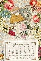 Rakkaヴィクトリアンカレンダー2020年 フラワー 月めくり 葉書サイズ プレゼント 祝日表示有り RVC2020F