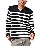 ジョーカーセレクト(JOKER Select) 長袖Tシャツ メンズ ロンT ロングTシャツ ボーダーTシャツ ボーダー Vネック おしゃれ M ブラック/ホワイト(09)