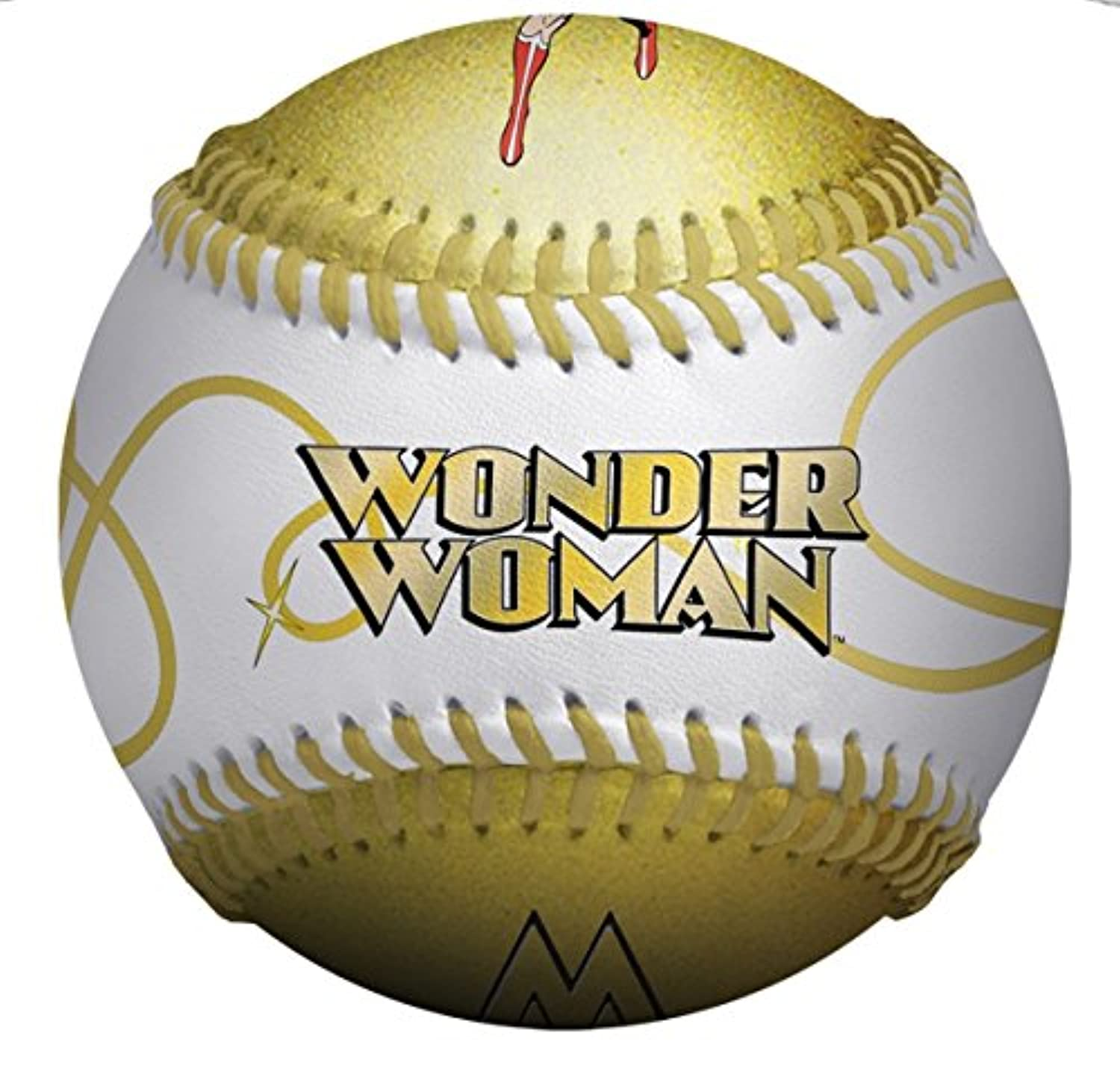 Wonder Woman In Action and WW Logo DC Comics White & Gold Baseball by American Classics