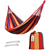 ValueHall Outdoor Soft Cotton Fabric Brazilian Hammock Double Wide 2 Person Travel Camping Hammock (Orange)