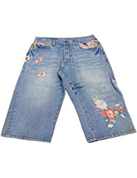 SCRIPT 花旅楽団 金魚花柄 デニムショートパンツ 36インチ ブルー