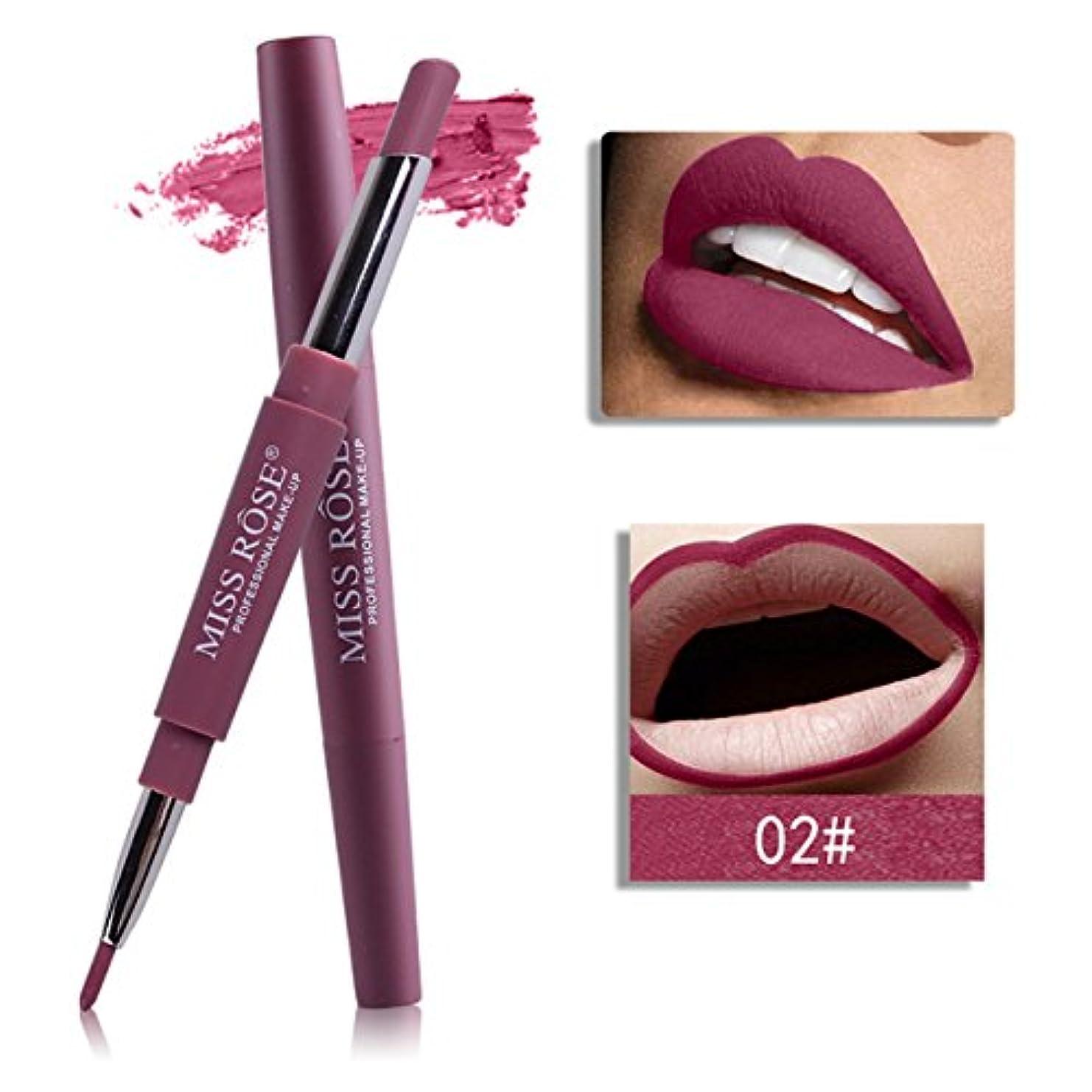 思慮深いますます強大な口紅ペン BOBOGOJP ダブルヘッド 多機能 リップライナー リップスティックペン 多色選択 リップグロス リップライナースティックペンシル 長続き 防水 リプリナー 恋する唇 メイク道具 おすすめ (B)