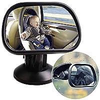 ベビーミラー 車載用 後部座席 確認ミラー 車 吸盤 チャイルドシートミラー アクリル鏡面 360度回転