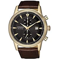 Citizen Men's Solar Powered Wrist watch, Leather Strap analog Display and Leather Strap, CA7008-11E