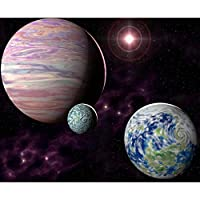 forestime 5d DIYダイヤモンドペイントby Numberキット、フルラウンドドリルStarry絵画画像Artsクラフトのホーム壁の装飾、Universe Planet 30×35 cm ブラック FORESTIME-64