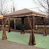 簡易ガゼボ・テント(サイドウォール付) GP-06-06-300SQW(茶)