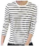 (ボナスティモーロ) Buona stimolo メンズ Tシャツ 長袖 細め ボーダー 柄 クルーネック 丸首 薄手 カットソー (01:白黒 S)