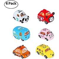 あたり6個Cartoon Pull Back Car Set Toy Vehicles Gift Pack forベビー幼児子供キッズ