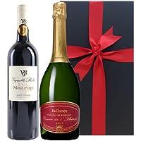 ワインギフト 2本 スパークリングと赤ワイン フランス シャンパーニュ製法 クレマン・ド・ボルドー  AOCサン・シニアン シラー ドメーヌ・ベロ 2015年 750ml包装付き 箱入り