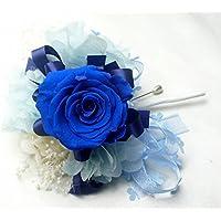 684【コサージュ】【結婚式、入学式、卒業式】プリザーブド・バラ ロイヤルブルー 1輪