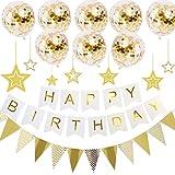 誕生日飾り付け Nisa風船 パーティー飾り バースデーセット フラッグ紙吹雪入れ ゴールドバルーン HAPPYBIRTHDAY ガーランド パーティーグッズ きらきら