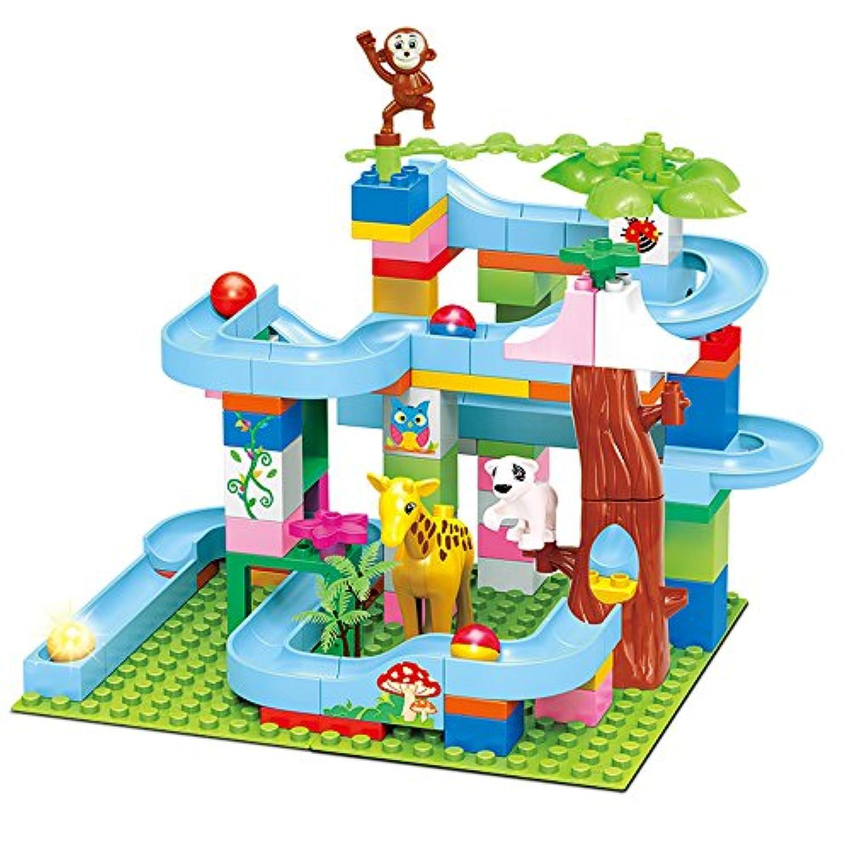建物ブロックセット、105-pieceで建築ブロックSlideway、動物、植物とボール子供のおもちゃ