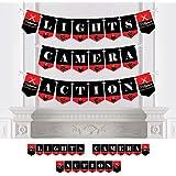 Big Dot of Happiness レッドカーペット ハリウッド - ムービーナイトパーティー バンティングバナー - パーティーデコレーション - ライト カメラ アクション