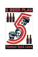 """"""" 5ビールプラン–Vladimir Ilyich Lenin """"印刷( UnstretchedキャンバスGiclee 20x 30)"""