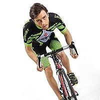 サイクルジャージ 半袖 上下セット サイクルパンツ サイクリングウエア スポーツ服 自転車用 男女兼用 夏 通気性 3D立体バット付き (緑黒, L)