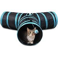 LAMSTON 猫トンネル ペット用品猫のおもちゃ 猫おもちゃ キャット キャットトンネル T型 トンネル 猫遊び道具 折り畳み猫のおもちゃ 3つのトンネル 猫グッズ (ブルー)