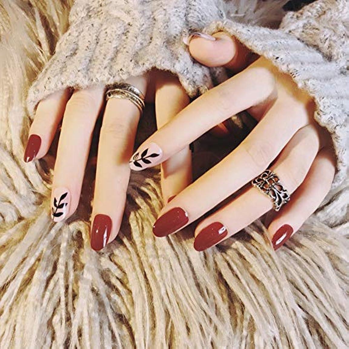 適応人生を作る服を着るXUTXZKA 24本の偽の爪楕円形の長い赤黒葉フルカバー偽ネイル用ホーム