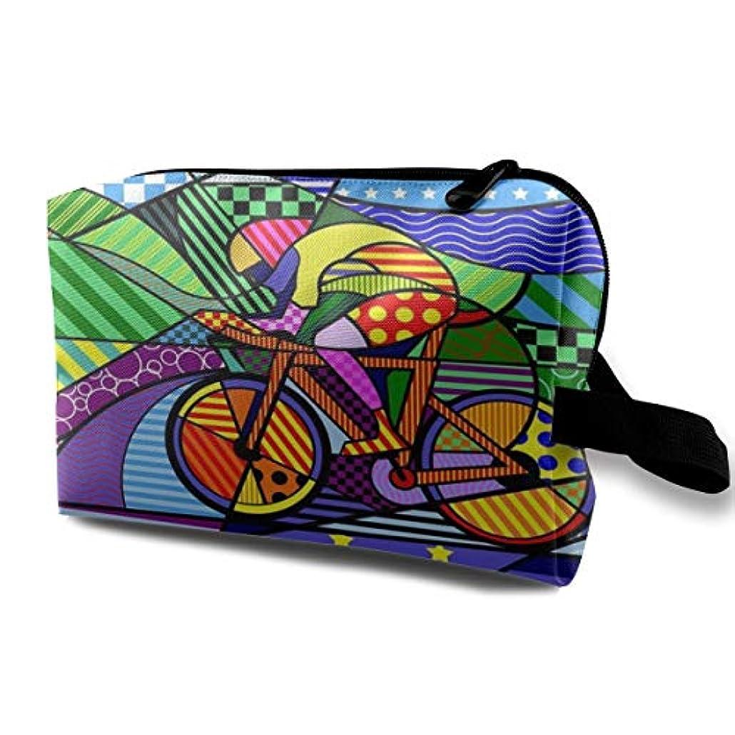 谷方言肥満Colorful Bicycle Paiting 収納ポーチ 化粧ポーチ 大容量 軽量 耐久性 ハンドル付持ち運び便利。入れ 自宅?出張?旅行?アウトドア撮影などに対応。メンズ レディース トラベルグッズ
