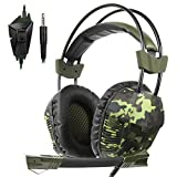 SA921Plus 3.5mm Wired Over Ear Stereo Gaming Headset Headband Headphones with Mic 50mm HiFi Speakers