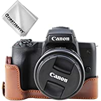 FIRST2SAVVV ダークブラウン キヤノン Canon EOS M50 専用 PU 半分レザー レフ カメラバッグ カメラケース +クリーニングクロス XJD-EOS M50-D10