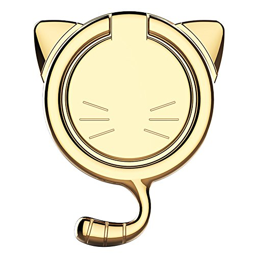 Ginsendor 猫耳 薄型 スマホリングスタンド バンカーリング 金属製 360度回転 落下防止 ホールドリング 車載ホルダー対応 iPhone Android多機種対応 (ゴールド)
