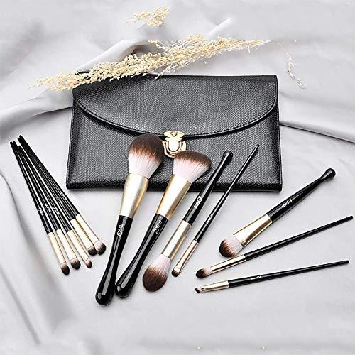 12化粧ブラシセットマーメイドプロフェッショナルコスメツールファンデーションブラシアイシャドウブラシ5.91*9.84インチ(ブラック)