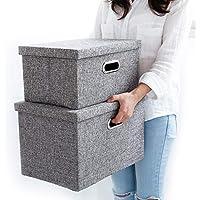 収納ボックス ふた付 3個セット折りたたみ 積重ね収納ケース インナーボックス おもちゃ箱 書類 衣類大容量高耐収納可能 (グレー)