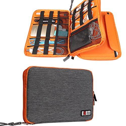 BUBM デジタル機器用収納ケース 二層式 防水 9.7インチiPad/iPad Air/モバイルバッテリー/充電ケーブル マルチ収納 ベルクロケーブルタイ付属 (L,グレー&オレンジ)