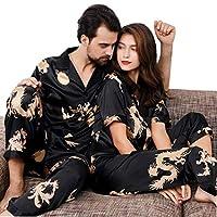 男性と女性の夏のV字型の襟パジャマカップルスーツ半袖黒青赤M 3 XLのサテンのPj (Color : Black, Size : Ms. L)